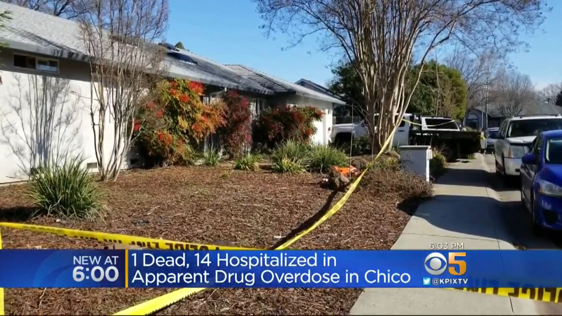 Authorities in Chico, California, said drug overdoses at this home are believed to have killed one person and hospitalized 12