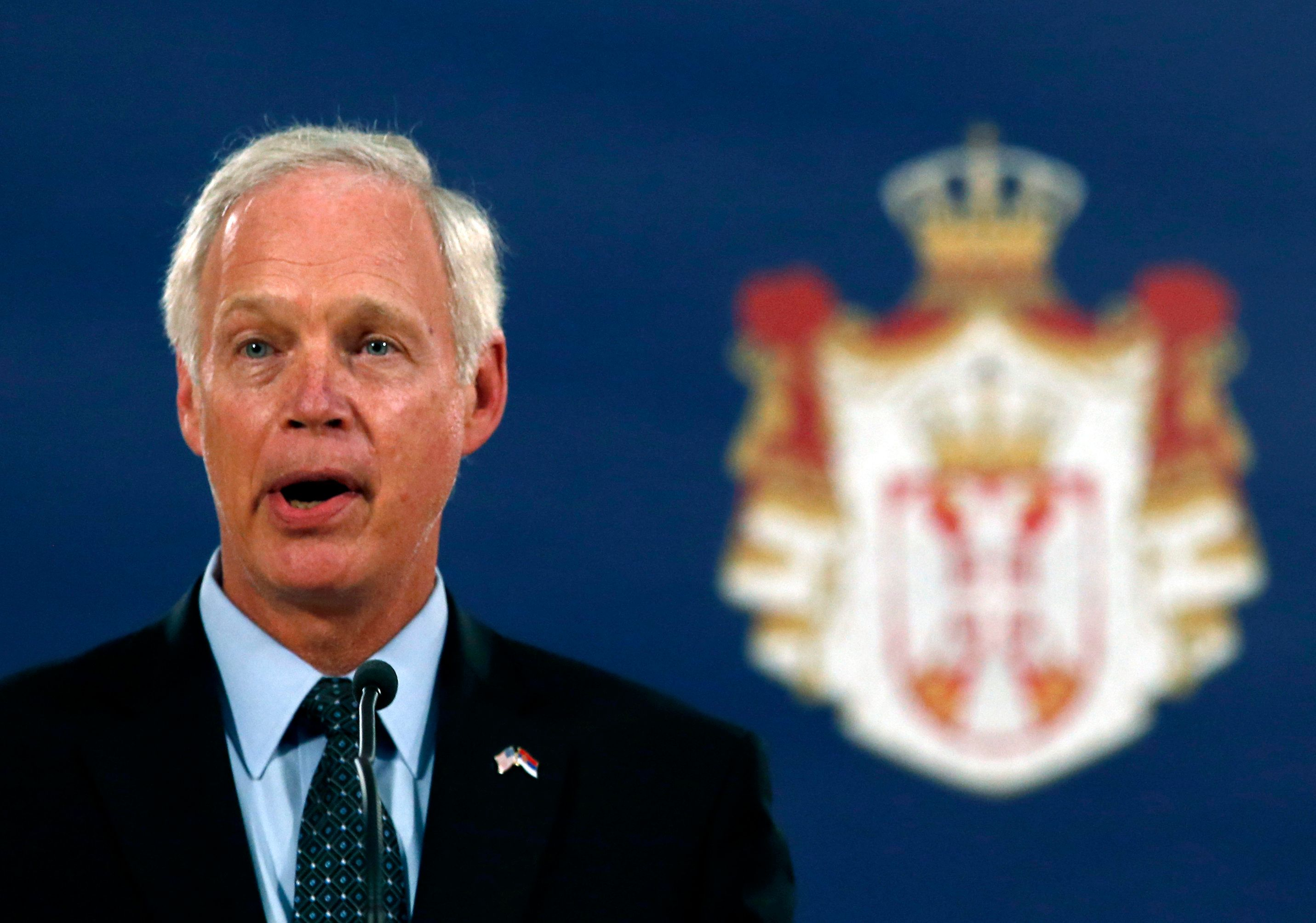 US Senator Ron Johnson speaks during press conference after talks with Serbia's President Aleksandar Vucic in Belgrade, Serbia, Monday, Sept. 10, 2018. Johnson is on a two day trip to meet with Serbian officials. (AP Photo/Darko Vojinovic)