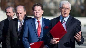 WASHINGTON, DC - DECEMBER 12: Founder and Chairman of the Liberty Counsel Mat Staver speaks during live nativity scene outside of the U.S. Supreme Court on December 12, 2018 in Washington, DC. Faith and Liberty, Liberty Counsel's Christian missionary outreach, presented the ceremonial nativity scene outside the U.S. Supreme Court where they sang, prayed and read scripture.  (Photo by Zach Gibson/Getty Images)