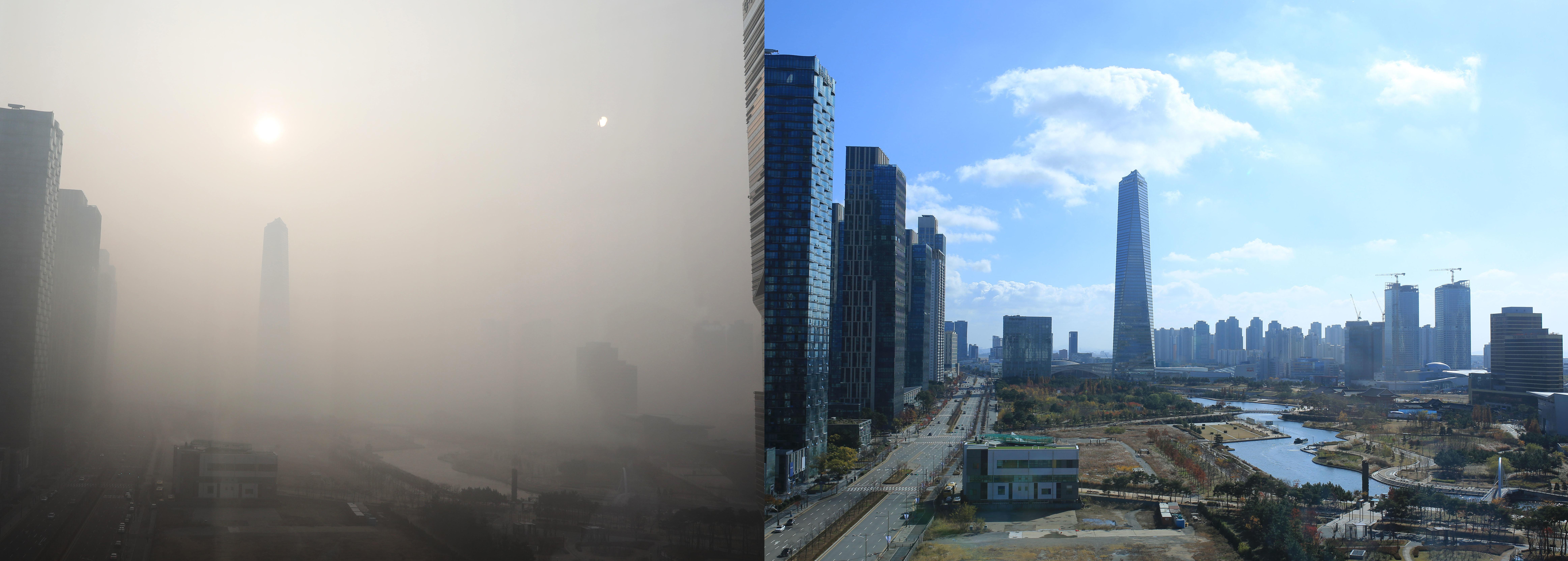 사진 왼쪽은 미세먼지가 가득한 14일 인천 송도 모습, 오른쪽은 미세먼지가 없는 송도의 모습.