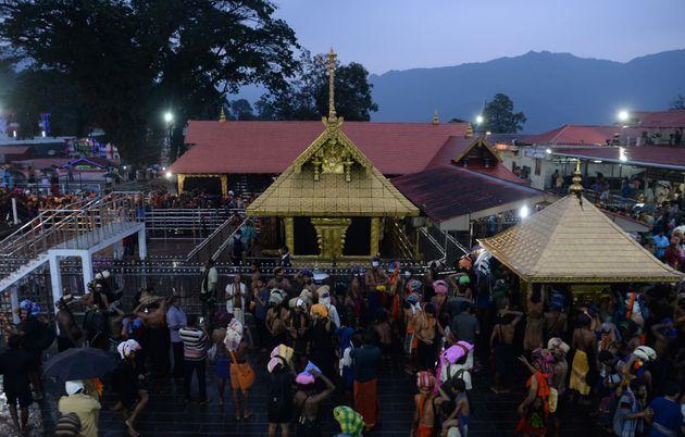 Devotees at the Lord Ayyappa temple in Sabarimala in Kerala on November 16,