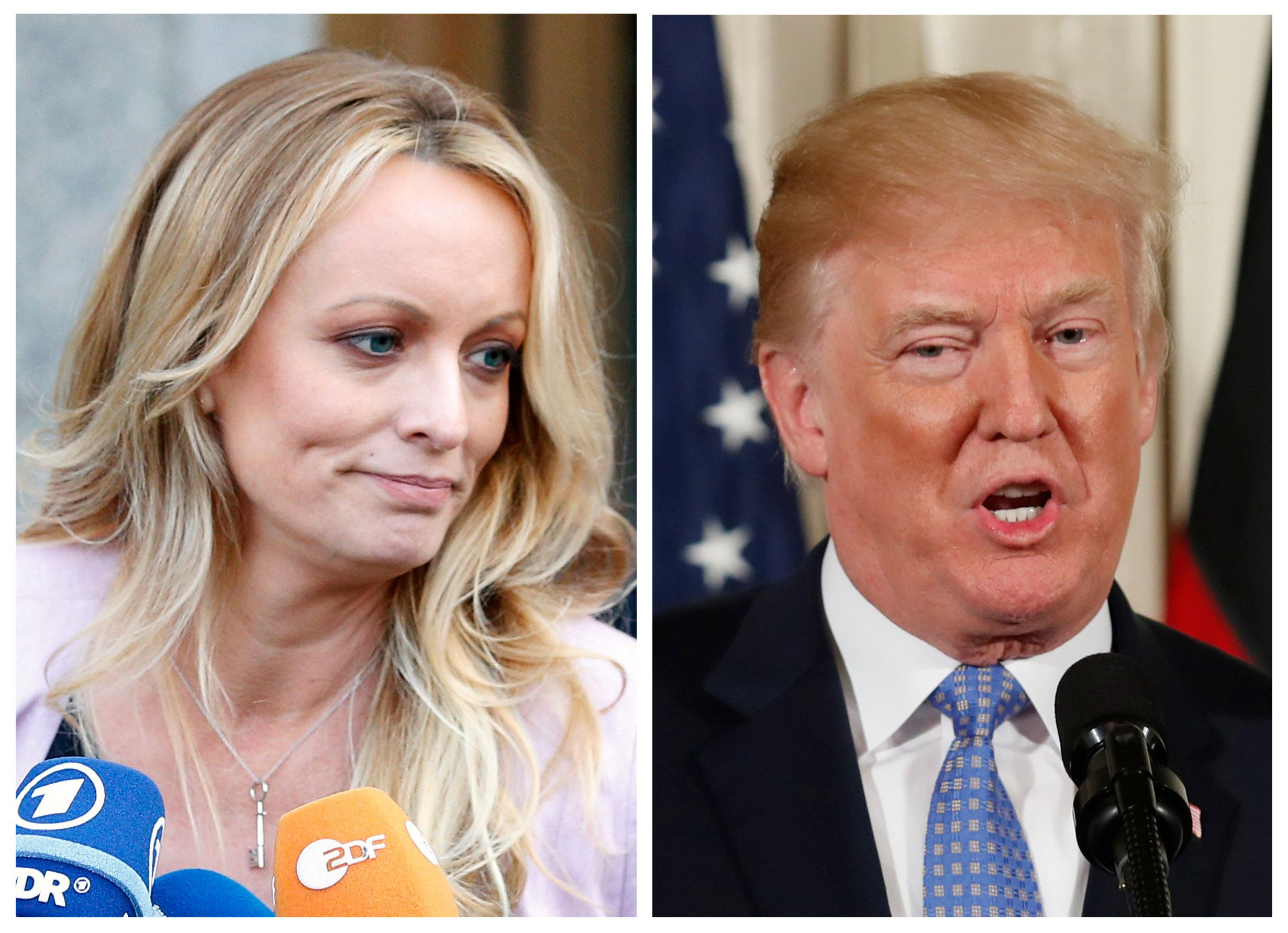 FILE PHOTO: A combination photo shows Adult film actress Stephanie Clifford, also known as Stormy Daniels speaking in New York City, and U.S. President Donald Trump speaking in Washington, Michigan, U.S. on April 16, 2018 and April 28, 2018 respectively.  . REUTERS/Brendan Mcdermid (L) REUTERS/Joshua Roberts (R)/File Photos