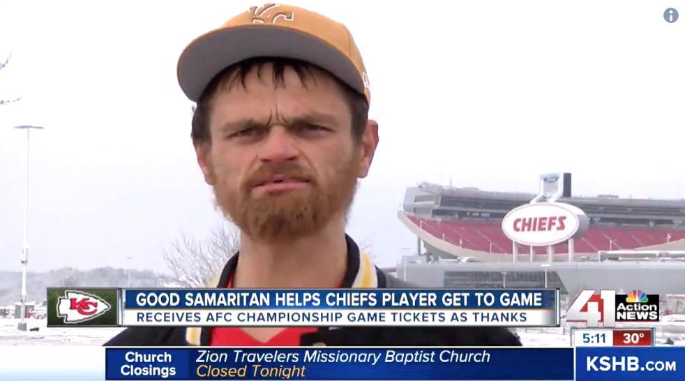 Homeless Good Samaritan Helps Chiefs Player Reach Playoff