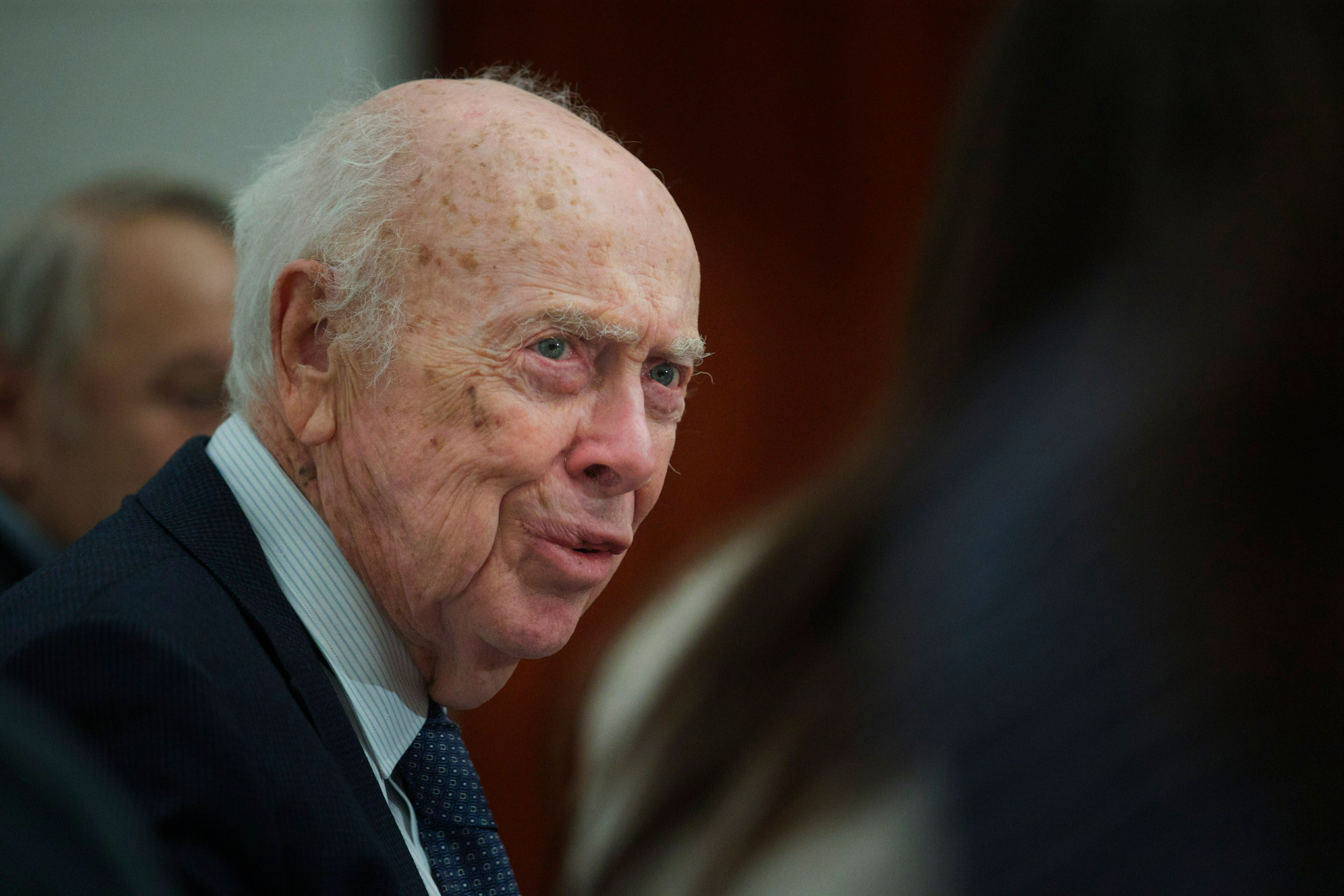 FILE - In this Wednesday, June 17, 2015 file photo, U.S. Nobel laureate biologist James Watson visits the Russian Academy of Sciences in Moscow, Russia. Watson, who lost his job in 2007 for expressing racist views, was stripped of several honorary titles on Friday, Jan. 11, 2019. (AP Photo/Ivan Sekretarev)