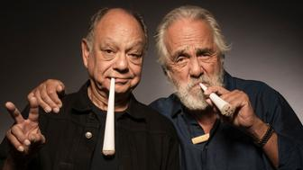 """In this April 6, 2018 photo, Cheech Marin, left, and Tommy Chong pose for a portrait to promote the 40th anniversary of """"Up in Smoke"""" in Los Angeles, Calif. (Photo by Ron Eshel/Invision/AP)"""