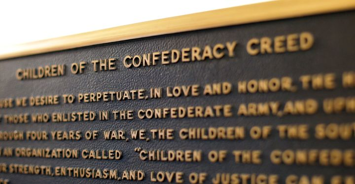 This 2017 file photo shows the Children of the Confederacy Creed plaque at the Capitol in Austin, Texas.