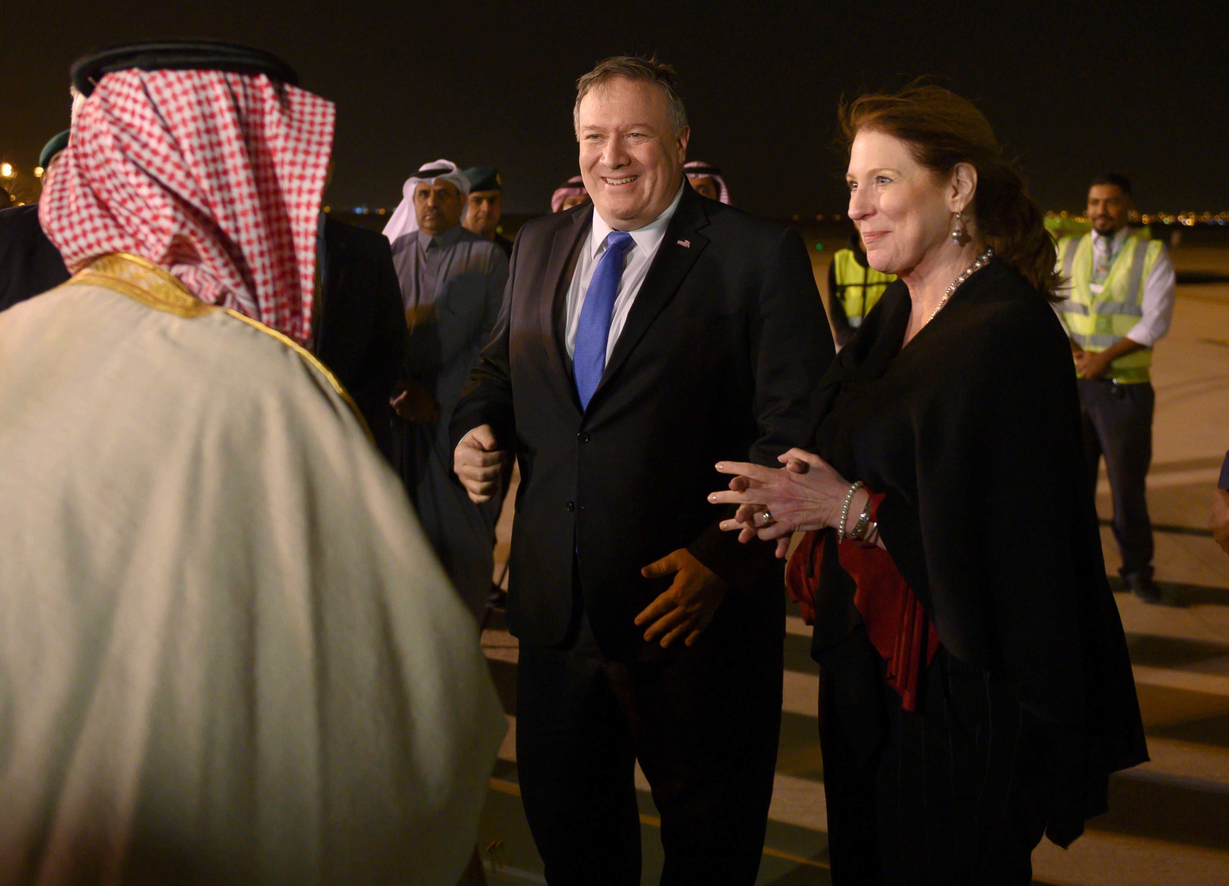 US Secretary of State Mike Pompeo and his wife Susan are greeted by Saudi's Minister of State for Foreign Affairs Adel al-Jubeir in Riyadh on Sunday, January 13, 2019, during his Middle East tour. (Andrew Caballero-Reynolds/Pool Photo via AP)