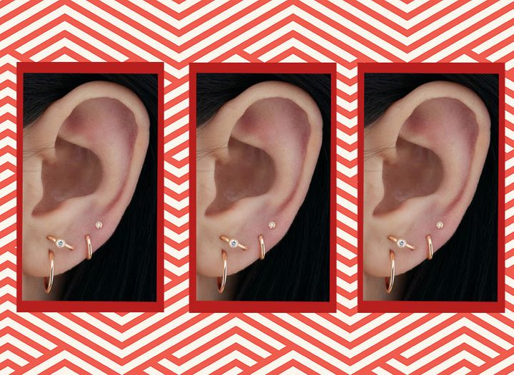 Vertical lobe piercing above the first lobe piercing, with three high lobe piercings ascending along the ear.
