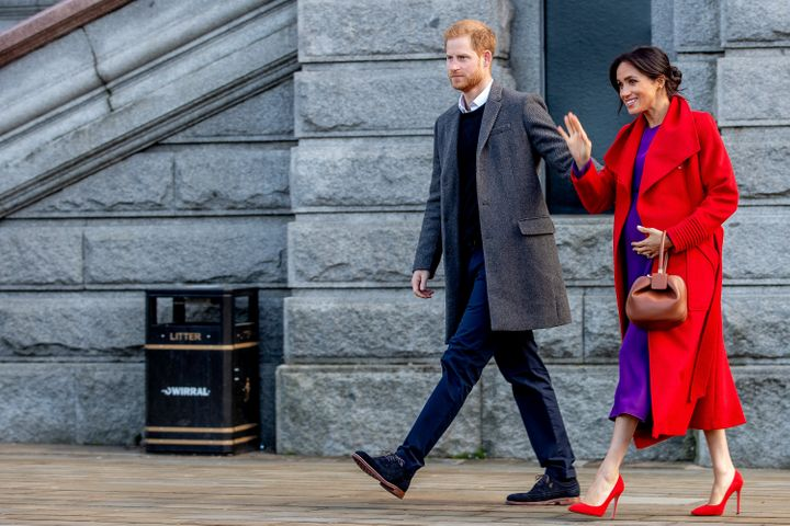 Britain's Prince Harry, Duke of Sussex and Meghan, Duchess of Sussex visit Birkenhead, Britain on Jan. 14.