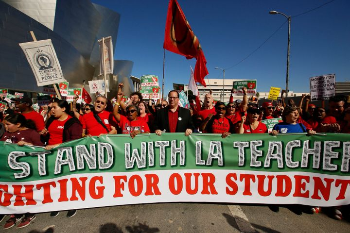 Thousands of teachers rally against the nation's second-largest school district in downtown Los Angeles.