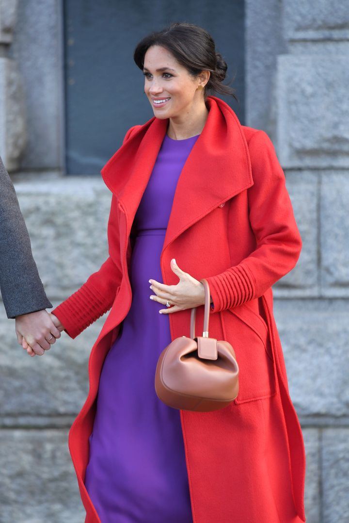 Meghan, Duchess of Sussex meets members of the public during a visit of Birkenhead at Hamilton Square.