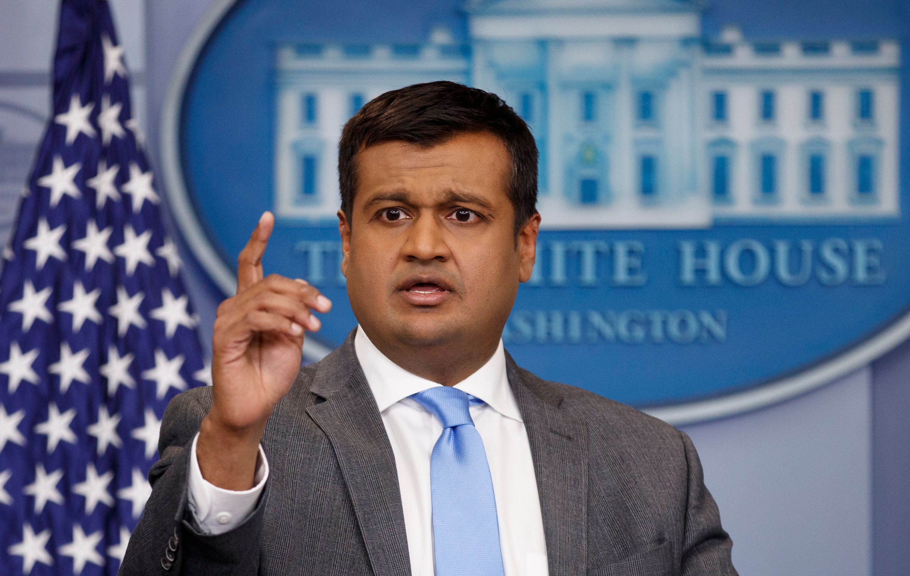 White House principal deputy press secretary Raj Shah speaks during the daily news briefing at the White House, in Washington, Monday, March 26, 2018.(AP Photo/Carolyn Kaster)