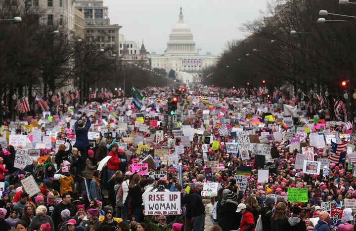 The Women's March gathers in Washington, D.C., on Jan. 21, 2017, the day after President Trump's inauguration.