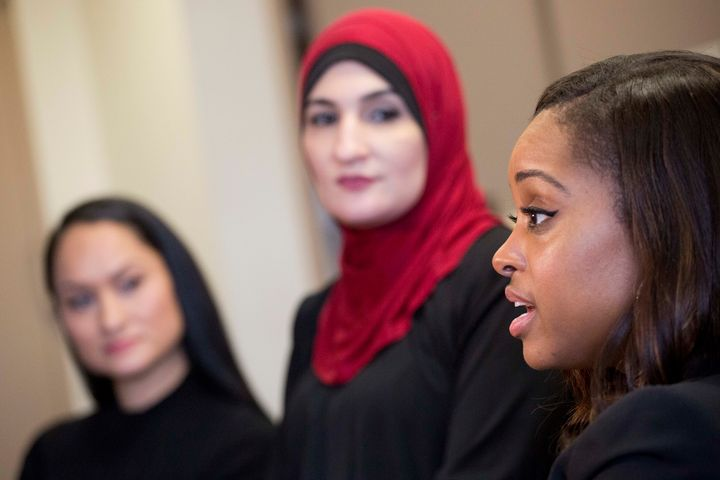 Tamika Mallory, right, at an interview in New York on Jan. 9, 2017, with her fellow Women's March co-chairs Carmen Pere