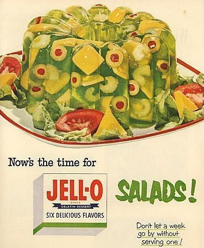 """Nothing was safe from suspension in lime Jell-O, <a href=""""https://www.huffpost.com/entry/jello-salad_n_1878210"""" target=""""_blank"""" rel=""""noopener noreferrer"""">as shown in this 1952 ad</a>."""