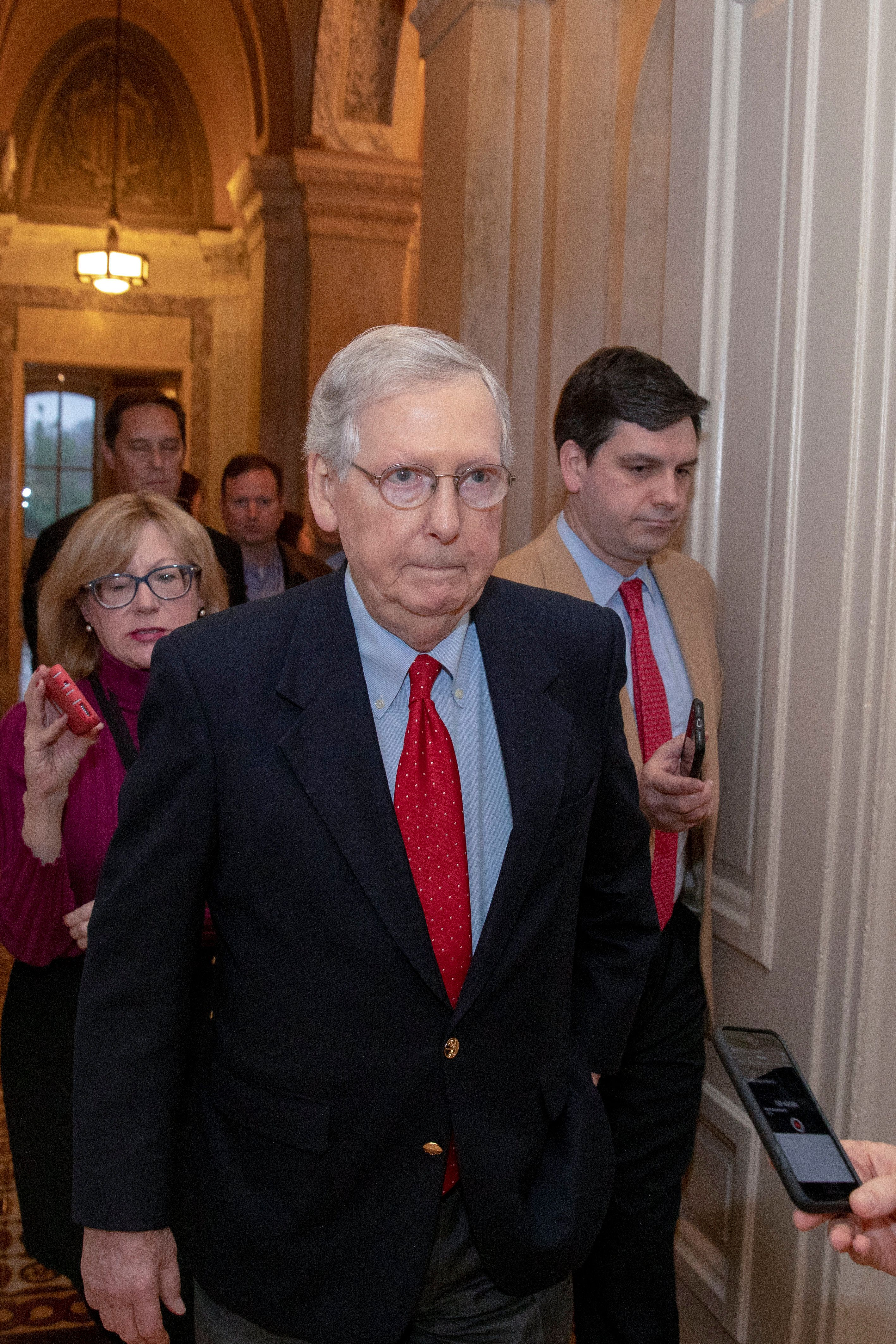 WASHINGTON, DC - JANUARY 02: Senate Majority Leader Mitch McConnell, (R-KY) speaks to reporters on Capitol Hill after returning from the White House on January 02, 2019 in Washington, DC. With the new congress scheduled to start on January 3, 2019, Congressional Democrats and Republicans have not come to a bipartisan solution to President Donald Trump's demands for more money to build a wall along the U.S.-Mexico border. (Photo by Tasos Katopodis/Getty Images)