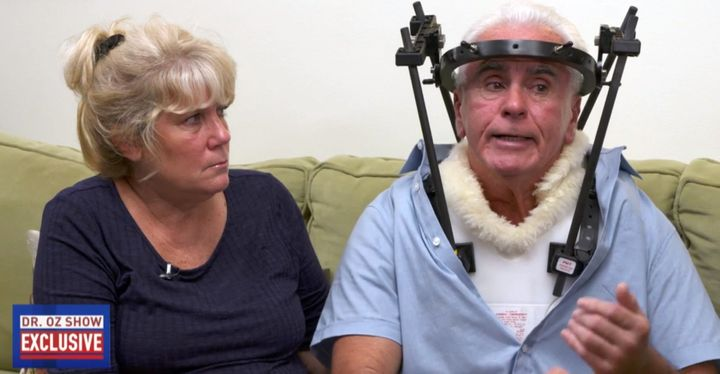 "George Anthony, injured late last in a car accident, appeared with his wife, Cindy Anthony, on Monday's ""The Dr. Oz Show"