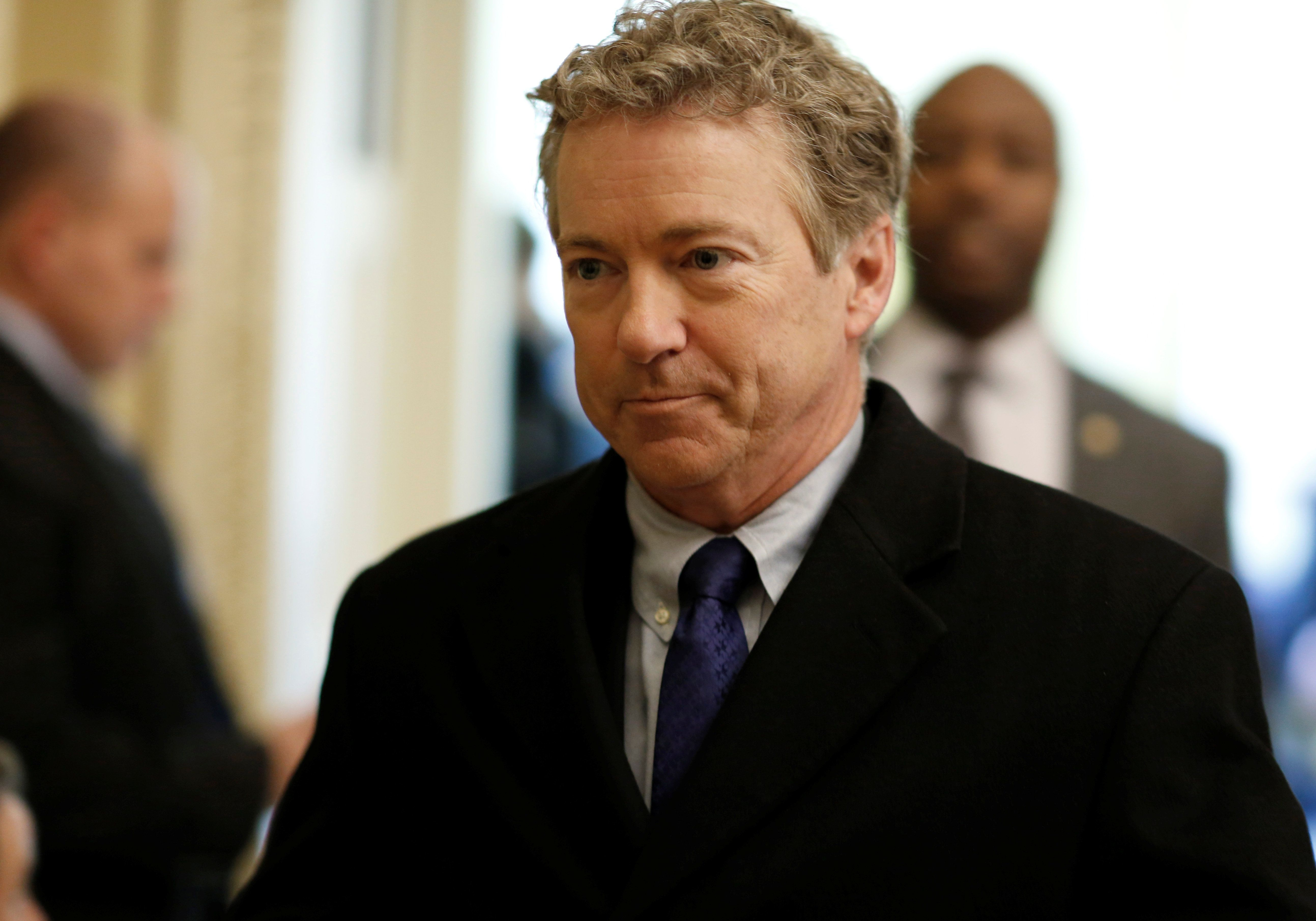 Senator Rand Paul (R-KY) walks from Senate Republican weekly policy luncheon on Capitol Hill in Washington, U.S., March 6, 2018. REUTERS/Joshua Roberts