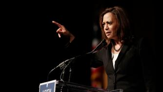 U.S. Sen. Kamala Harris, D-Ca., speaks during a campaign event for Democratic candidate for Florida governor Andrew Gillum, Monday, Oct. 29, 2018, at Miami Dade College in Miami. (AP Photo/Lynne Sladky)