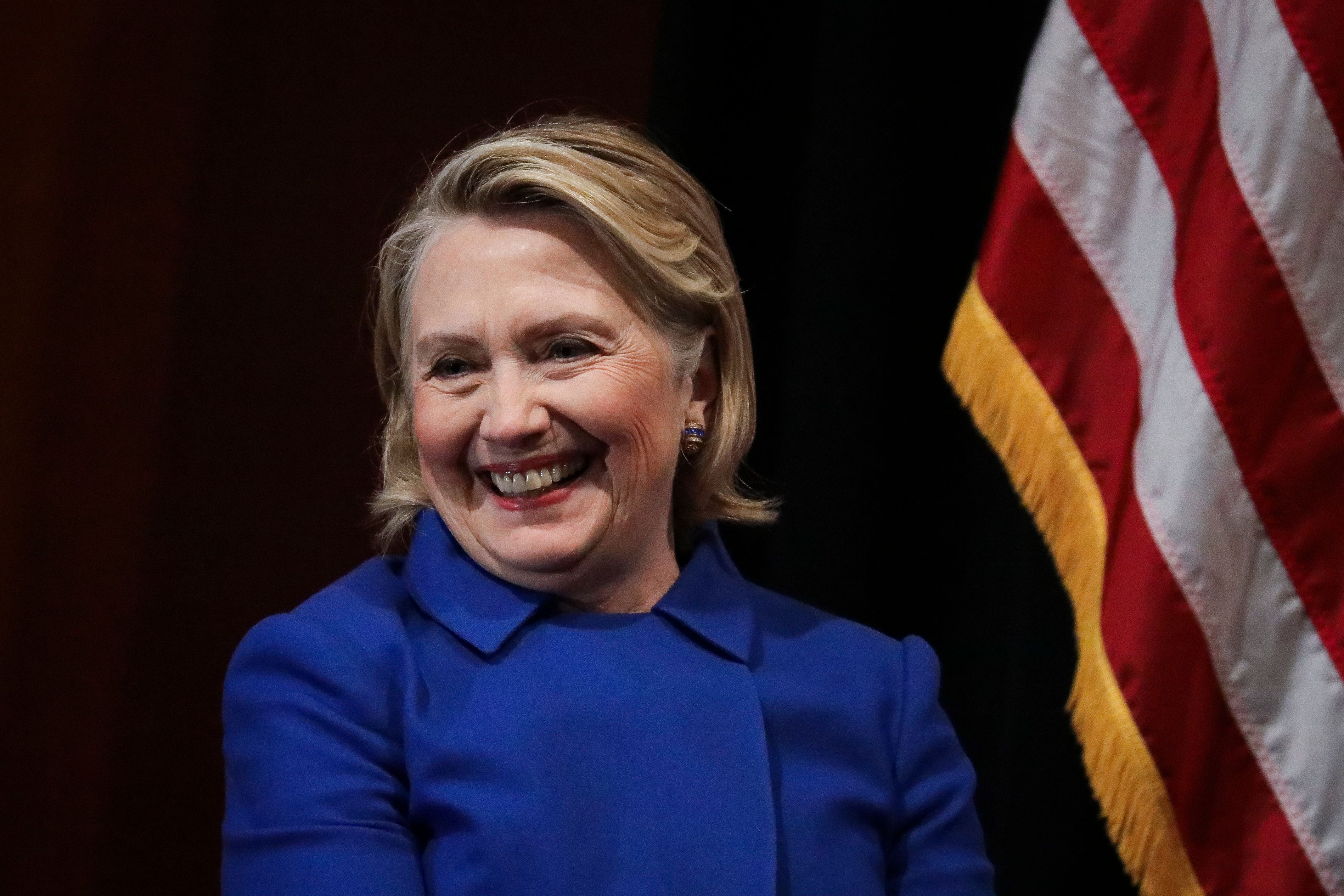 NEW YORK, NY - JANUARY 7: Former Secretary of State Hillary Clinton looks on during an event to discuss reproductive rights at Barnard College, January 7, 2019 in New York City. The two Democrats shared the stage to promote the Reproductive Health Act in New York, which Cuomo wants the State Legislature to pass in their first 30 days. Under New York's current law, abortions after 24 weeks are illegal unless its necessary to save the woman's life. (Photo by Drew Angerer/Getty Images)