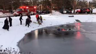 The boy was stuck in the middle of the pond and unable to move, authorities said.