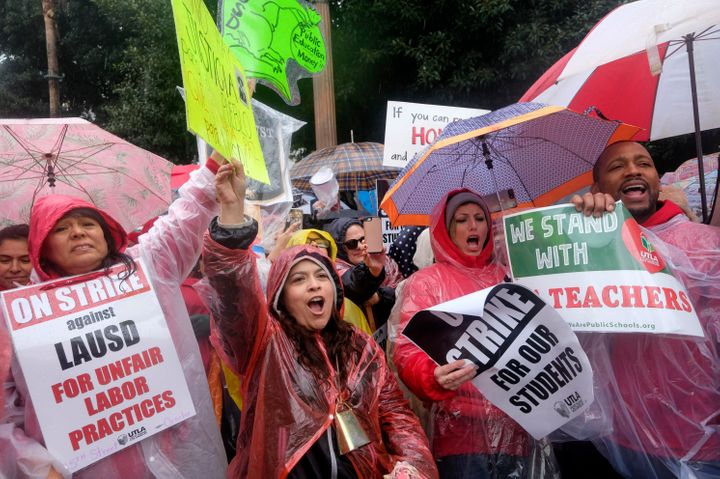 Teachers rallied at City Hall in Los Angeles on Monday.
