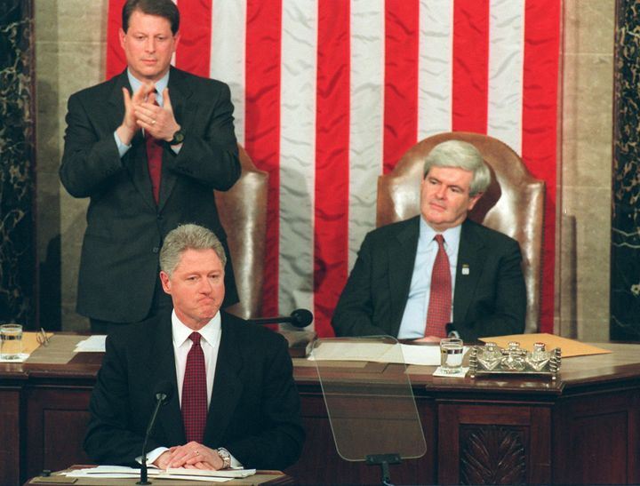 In his 1996 State of the Union speech, President Bill Clinton called out Republicans for shutting down the government.
