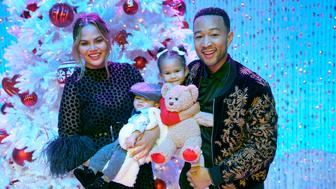 A LEGENDARY CHRISTMAS WITH JOHN & CHRISSY -- 2018 -- Pictured: (l-r) Chrissy Teigen, Miles, Luna, John Legend -- (Photo by: Paul Drinkwater/NBC/NBCU Photo Bank via Getty Images)