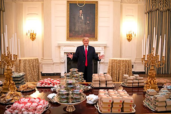 To honor the Clemson football team, the president served food from McDonalds, Wendy's and Burger King.