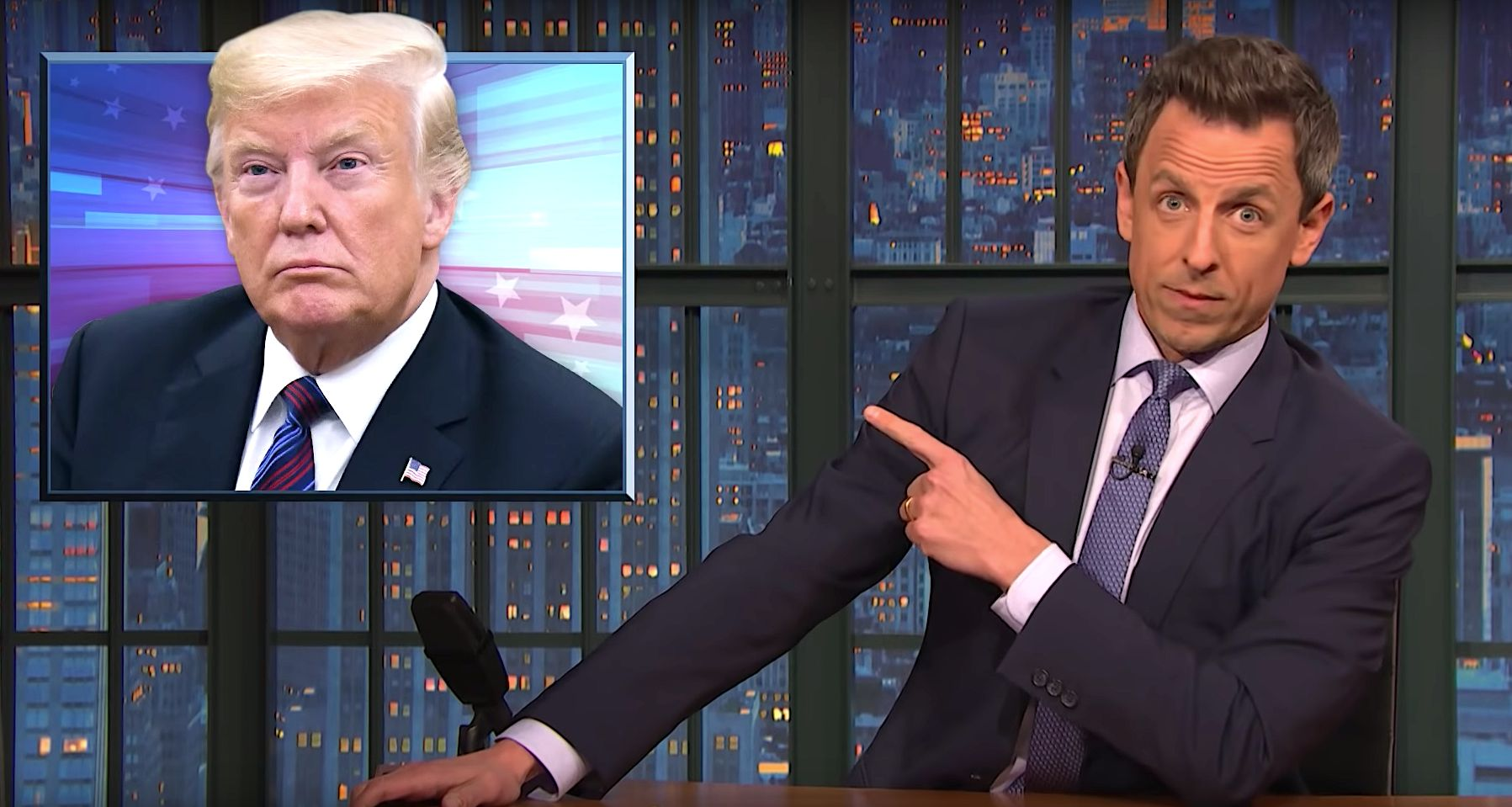 Donald Trump and Seth Meyers