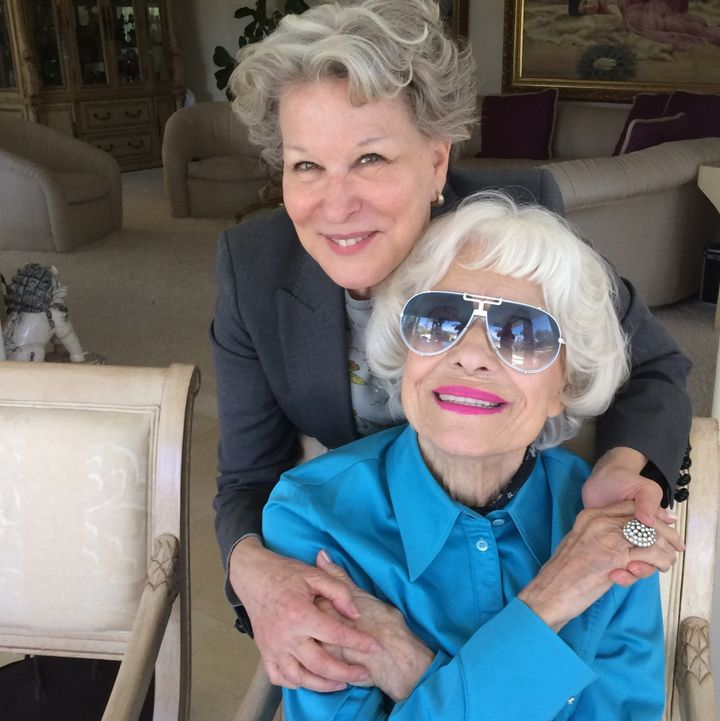 Carol Channing with fellow Broadway icon Bette Midler during a recent visit at Channing's home in Rancho Mirage, California.
