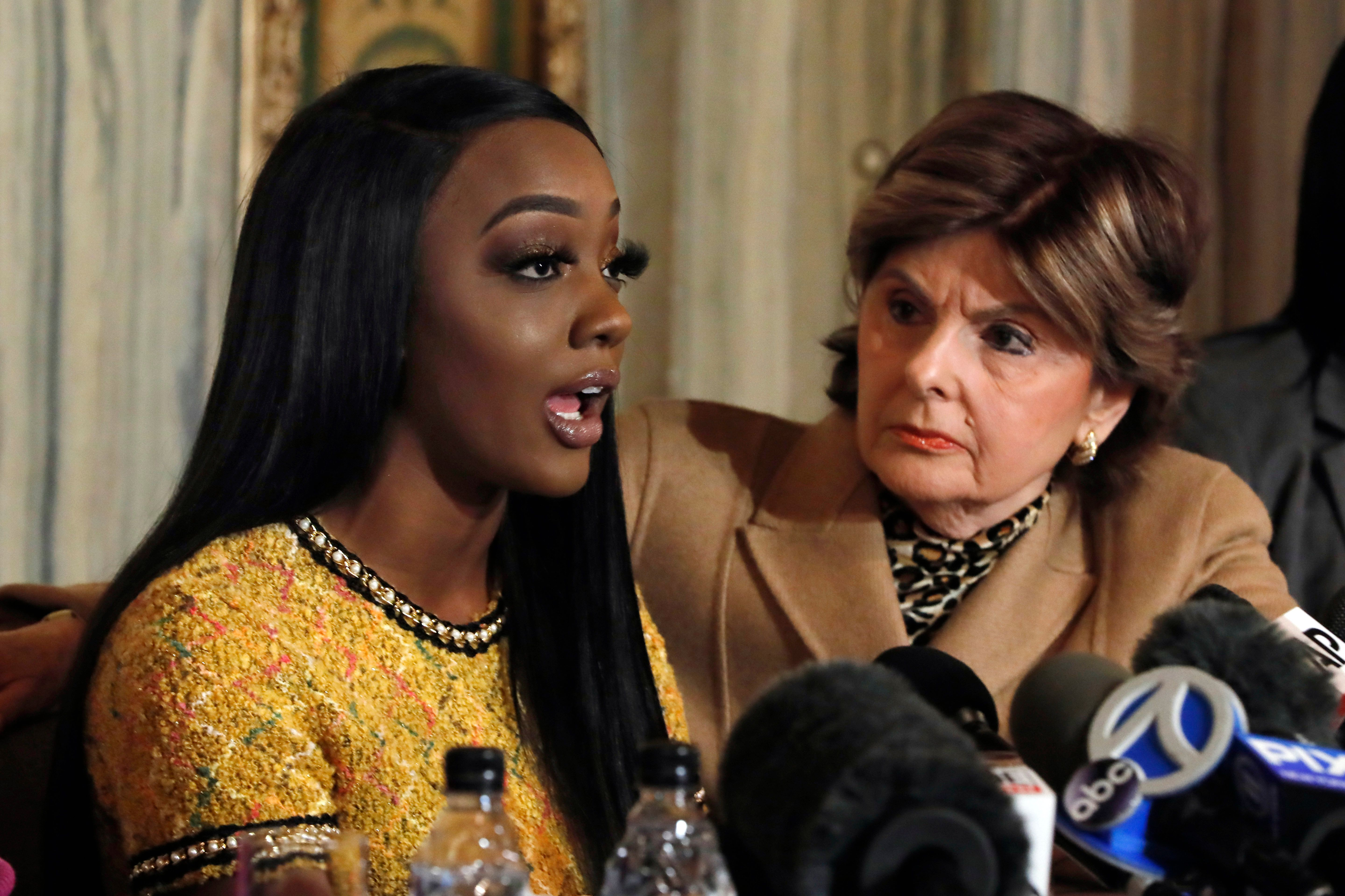 Faith Rodgers (left) with her attorney Gloria Allred (right).