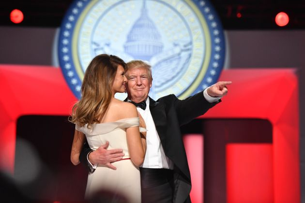 President Donald Trump dances with first lady Melania Trump at one of the inaugural balls in Washington...