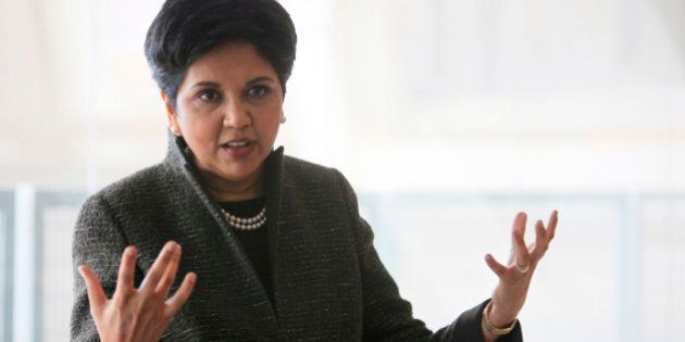 PepsiCo Chairman and CEO Indra Nooyi speaks to reporters during the PepsiCo media day and investor expo,...