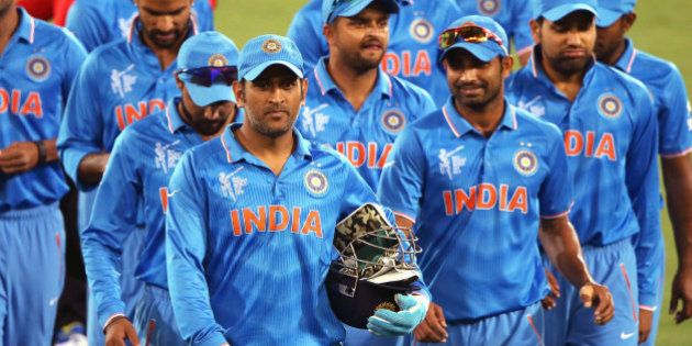 ADELAIDE, AUSTRALIA - FEBRUARY 10: MS Dhoni of India leads the team off the field after the 2015 ICC...