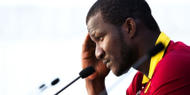 NELSON, NEW ZEALAND - FEBRUARY 16: Darren Sammy of the West Indies looks on at a press conference following...