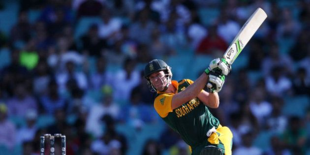 South Africa's AB De Villiers hits the ball to the boundary during their Cricket World Cup Pool B match...