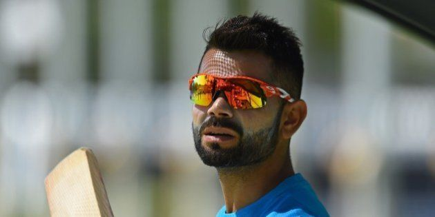 India's Virat Kohli prepares to bat during a final training session ahead of their Pool B 2015 Cricket...