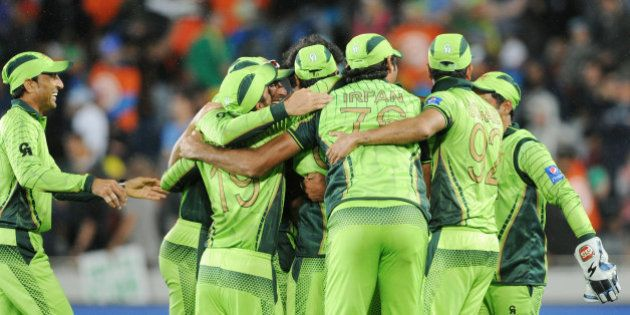 The Pakistan team celebrate after their 29 run win over South Africa in their Cricket World Cup Pool...