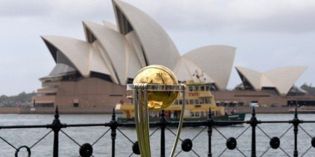 The Cricket World Cup trophy is seen in front of the Australia's iconic land mark Opera House during...