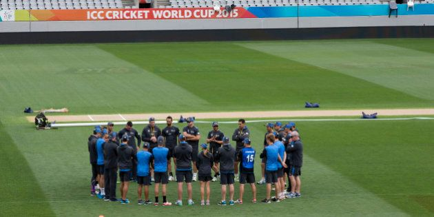 The New Zealand cricket team gather on the Eden Park pitch for a training session ahead of their Cricket...