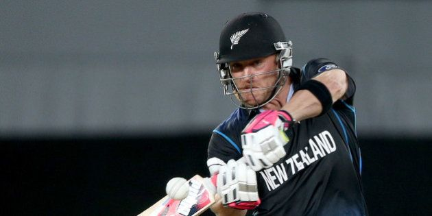 New Zealand's Brendon McCullum plays a shot while batting against South Africa during their Cricket...