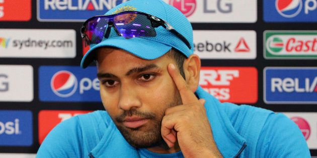 India's Rohit Sharma speaks to the media during a pre match press conference at the Cricket World Cup...