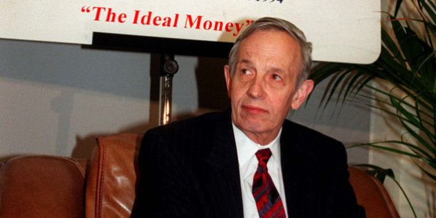 FILE - In this Oct. 28, 1997 file photo, John Forbes Nash, 1994 Economics Nobel Prize winner, takes a...