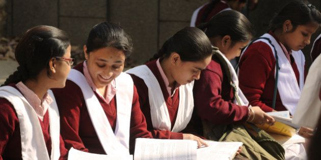 Indian school children prepare for their Central Board of Secondary Education (CBSE) senior school certificate...
