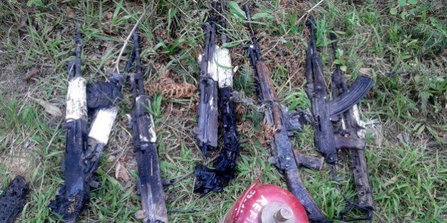 In this photograph taken on June 4, 2015, weapons of the Indian army personel who were killed by militants...