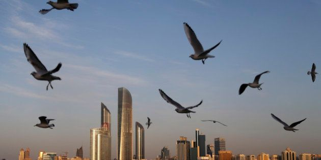 Seagulls fly over the city skyline in Abu Dhabi, United Arab Emirates, Wednesday Jan. 14, 2015. Seagulls...