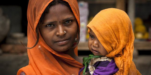 Women Face: Mother and her son in Sadari rural village -