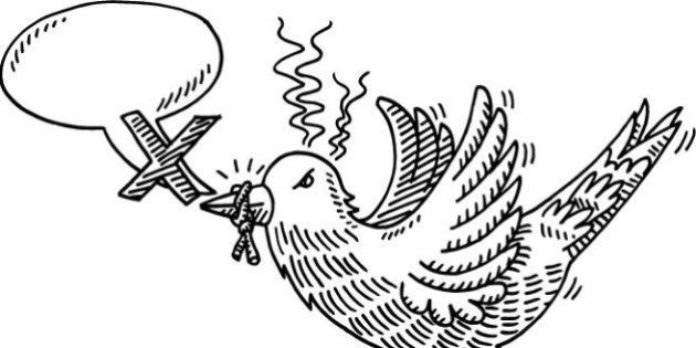 Hand-drawn vector drawing of a Gagged Bird and a Speech Bubble, Social Media Censorship Concept Image....