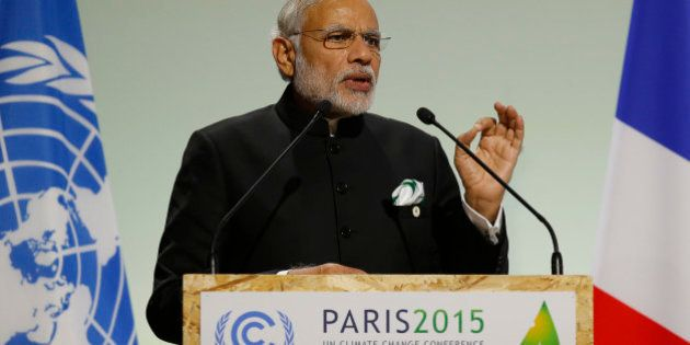 India's Prime Minister Narendra Modi addresses world leaders at the COP21, United Nations Climate Change...